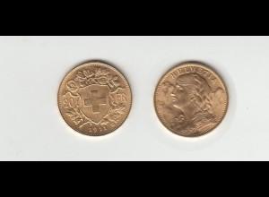 Goldmünze Schweiz Vreneli 20 SFR. 1911 B