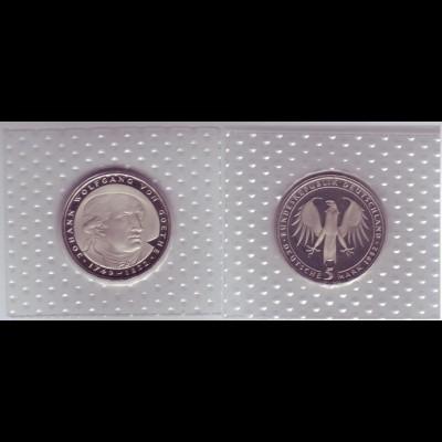 Münze 5 DM 1982 D Johann Wolfgang v. Goethe polierte Platte /35