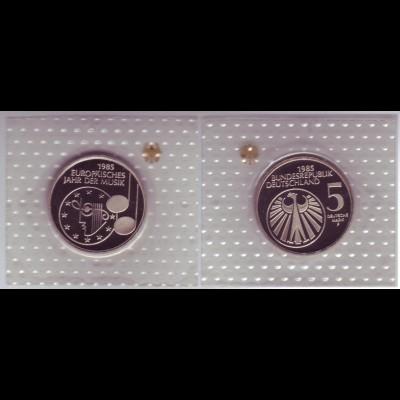 Münze 5 DM 1985 F Jahr der Musik polierte Platte /40