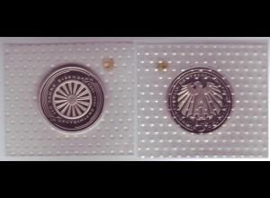 Münze 5 DM 1985 G Eisenbahn polierte Platte /41
