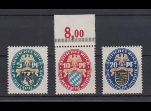 Deutsches Reich 375-377 Dt. Nothilfe Landeswappen 5 + 10 Pf + 20 Pf postfrisch