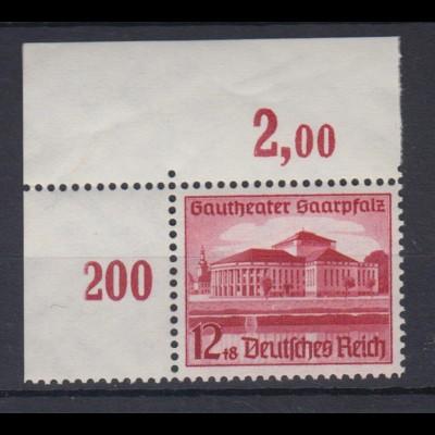 Deutsches Reich 674 Eckrand links oben Eröffnung des Gautheaters 12+8 Pf **