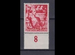 Deutsches Reich 661 Unterrand Fackelträger vor Brandenburger Tor 12 +8 Pf **