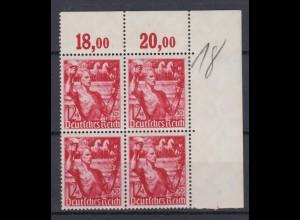 Deutsches Reich 661 4er Bl. Eckrand rechts oben Fackelträger **