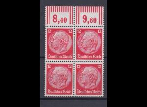 Deutsches Reich 519 Oberrand 4er Block Paul von Hindenburg im Medaillon 12 Pf **