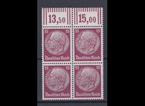 Deutsches Reich 520 Oberrand 4er Block Paul von Hindenburg im Medaillon 15 Pf **