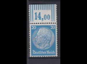 Deutsches Reich 521 mit Oberrand Paul von Hindenburg Medaillon 20 Pf postfrisch