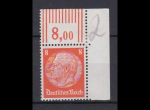 Deutsches Reich 485 Eckrand rechts oben Paul von Hindenburg 8 Pf **