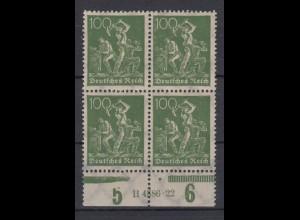 Deutsches Reich 187a mit Unterrand 4er Block + HAN Bergarbeiter 100 Pf ** /2