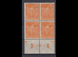 Deutsches Reich 189 mit Unterrand 4er Block + HAN Schnitter 150 Pf postfrisch /2