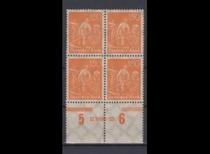 Deutsches Reich 189 mit Unterrand 4er Block + HAN Schnitter 150 Pf postfrisch /3