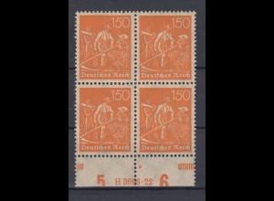 Deutsches Reich 189 mit Unterrand 4er Block + HAN Schnitter 150 Pf postfrisch /4