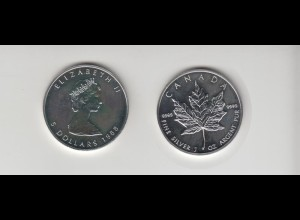 Silbermünze 1 OZ Kanada 5 Dollar 1988 Maple Leaf