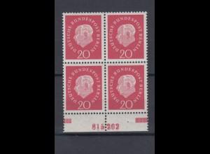 Berlin 184 v P 4er Block mit Unterrand + HAN Theodor Heuss 20 Pf postfrisch
