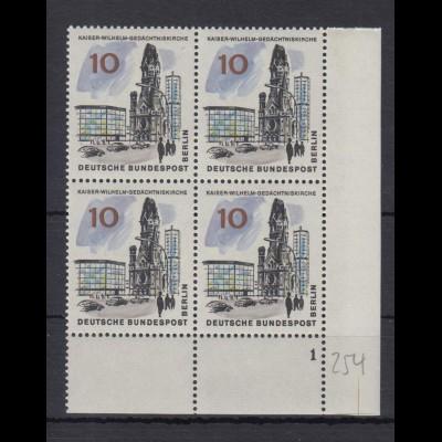 Berlin 254 Eckrand rechts unten 4er Block mit FN 1 neues Berlin 10 Pf **