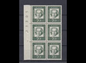 Bund 358y a 6er Block Seitenrand mit Bogennummer Bedeutende Deutsche 70 Pf **
