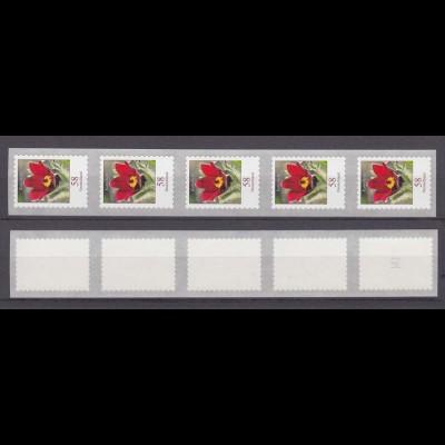 Bund 2971 RM SELBSTKLEBEND 5er Streifen ungerade Nr. Blumen Kuhschelle 58 C **