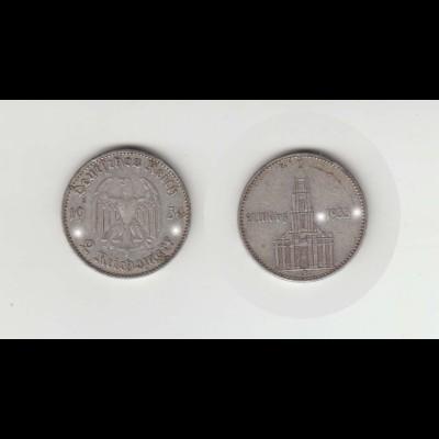 Silbermünze 2 RM Garnisonkirche 1934 J Jäger Nr. 355/2 mit Datum
