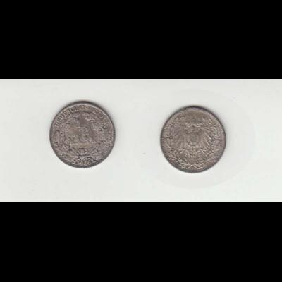 Silbermünze Kaiserreich 1/2 Mark 1916 F Jäger Nr. 16 /70