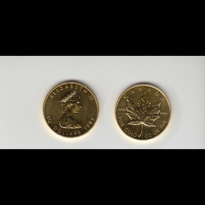 Goldmünze Kanada Maple Leaf 50 Dollar 1 OZ 1985