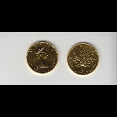 Goldmünze Kanada Maple Leaf 50 Dollar 1 OZ 1986