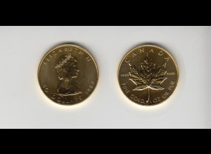 Goldmünze Kanada Maple Leaf 50 Dollar 1 OZ 1987
