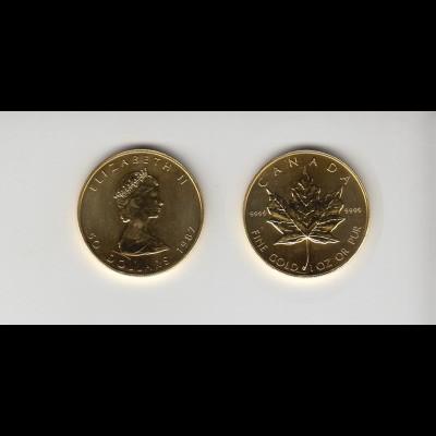 Goldmünze Kanada Maple Leaf 50 Dollar 1 OZ 1987