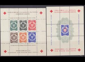 Polen Dachau Spendenblock Kriegsgefangenpost Rotes Kreuz 2 Blöcke gezähnt