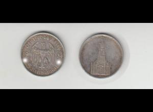 Silbermünze 5 RM Garnisonkirche 1934 F Jäger Nr. 357/2 Ohne Datum