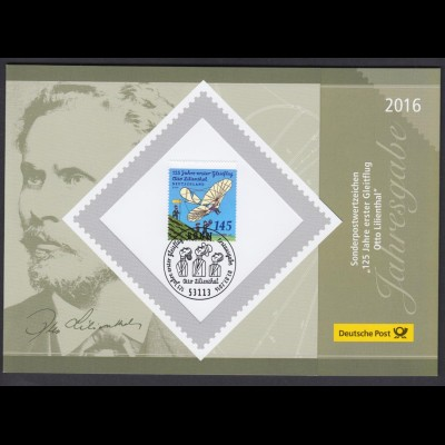 Bund 3254 Jahresgabe 125 Jahre erster Gleitflug Otto Lilienthal 145 C ESST Bonn