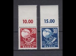 All. Besetzung Franz. Zone Baden 56-57 mit Oberrand Weltpostverein 20 + 30 Pf **