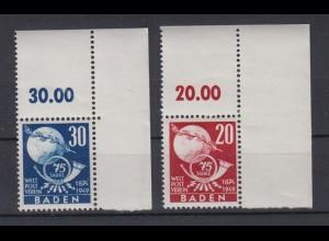 All. Besetzung Franz. Zone Baden 56-57 Eckrand rechts oben Weltpostverein **