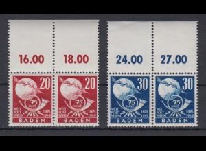 All. Besetzung Franz. Zone Baden 56-57 Oberrand Paar Weltpostverein 20 +30 Pf **