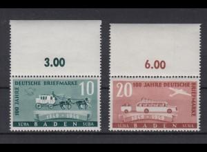 All. Besetzung Franz. Zone Baden 54-55 mit Oberrand Briefmarken 10 Pf + 20 Pf **