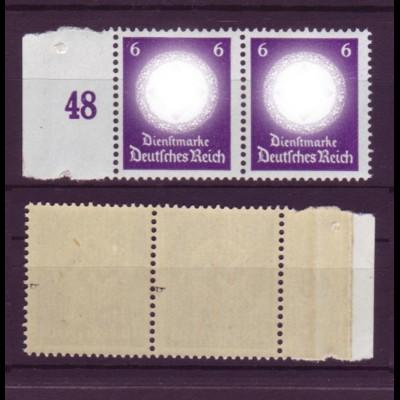 Deutsches Reich Dienst D 169b ohne WZ Seitenr. links waager. Paar 6 Pf **