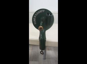 Alter Bohnenschneider Bohnenschnippler Hünersdorff grün Vintage Metallguß