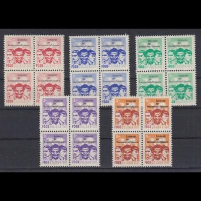 DDR Spendenmarken FDGB 4er Blocks 5 Werte postfrisch