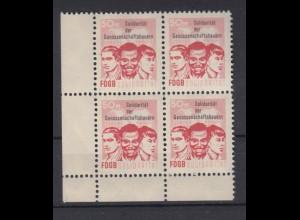 DDR Spendenmarken FDGB Eckrand links unten 4er Block 50 Pf postfrisch