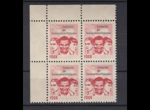DDR Spendenmarken FDGB Eckrand links oben 4er Block 50 Pf postfrisch