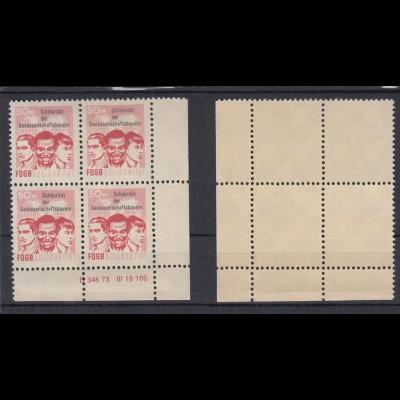 DDR Spendenmarken FDGB Druckvermerk Eckrand rechts unten 4er Block 50 Pf ** /1