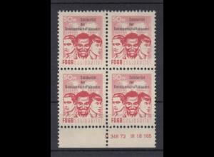 DDR Spendenmarken FDGB Druckvermerk im Unterrand 4er Block 50 Pf postfrisch