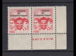 DDR Spendenmarken FDGB Druckvermerk Eckrand rechts unten waager. Paar 50 Pf **