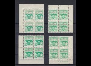 DDR Spendenmarken FDGB alle 4 Eckränder 4er Blocks 2 Mark postfrisch /3