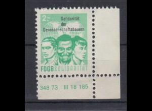 DDR Spendenmarken FDGB Druckvermerk Eckrand rechts unten 2 Mark postfrisch