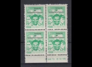 DDR Spendenmarken FDGB Druckvermerk im Unterrand 4er Block 2 Mark postfrisch