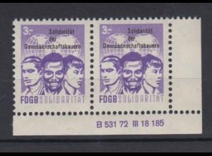DDR Spendenmarken FDGB Druckvermerk Eckrand rechts unten waager. Paar 3 Mark **