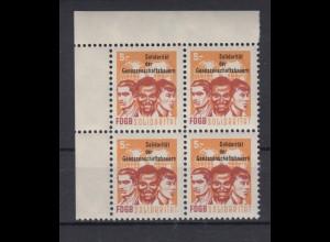 DDR Spendenmarken FDGB Eckrand links oben 4er Block 5 Mark postfrisch