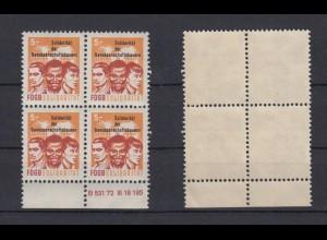 DDR Spendenmarken FDGB Druckvermerk im Unterrand 4er Block 5 Mark postfrisch