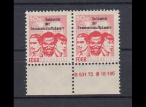 DDR Spendenmarken FDGB Druckvermerk Unterrand Paar 50 Pf postfrisch