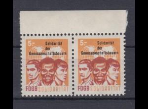 DDR Spendenmarken FDGB 1 fehlendes Zahnloch mit Oberrand waager. Paar 5 Mark **